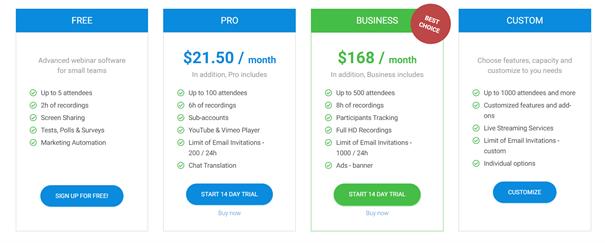 Livewebinar Pricing